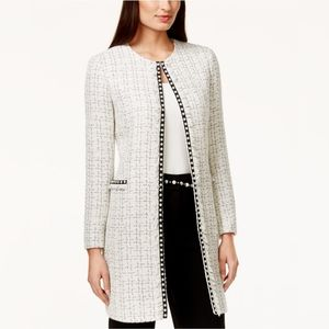 🌸Tahari ASL Pearl- Trim Tweed Long Jacket Size 2